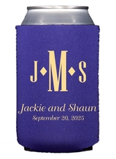 Condensed Monogram with Text Collapsible Koozies