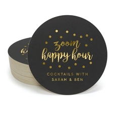 Confetti Dot Zoom Happy Hour Round Coasters