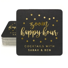 Confetti Dot Zoom Happy Hour Square Coasters