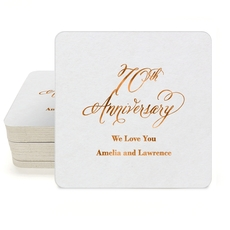 Elegant 70th Anniversary Square Coasters