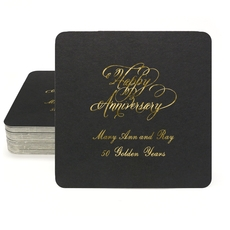 Elegant Happy Anniversary Square Coasters