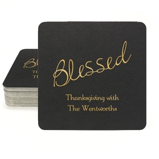 Expressive Script Blessed Square Coasters