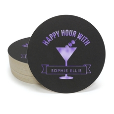 Happy Hour Martini Round Coasters