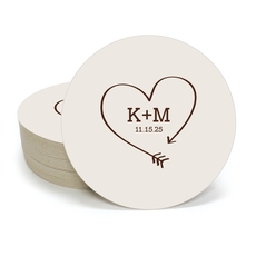 Heart Made of Arrow Round Coasters