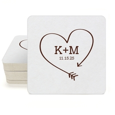 Heart Made of Arrow Square Coasters