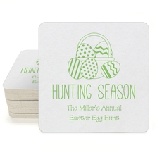 Hunting Season Easter Square Coasters