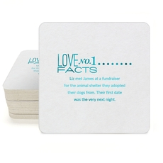 Just the Love Facts Square Coasters