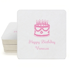 Sweet Floral Birthday Cake Square Coasters