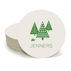 Modern Trees Round Coasters