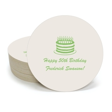 Sophisticated Birthday Cake Round Coasters
