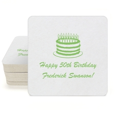 Sophisticated Birthday Cake Square Coasters