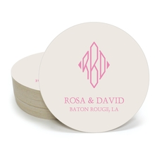 Shaped Diamond Monogram with Text Round Coasters