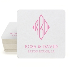 Shaped Diamond Monogram with Text Square Coasters